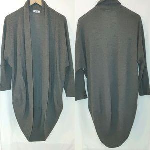 LNA waffle Texture Knit Cocoon Cardigan Gray XS/S